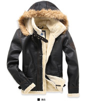 Wholesale Thick Faux Fur Hat - Free shipping !! 2016 Men's brand Amercia the pilot fur thickening lamb flocking leather jacket coat