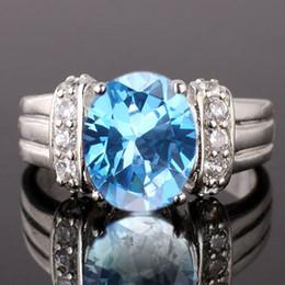 Deutschland Lady Oval 8X10 Simulierter Blauer Topas Nal Echter 925 Sterling Silber Ring R028 Versorgung