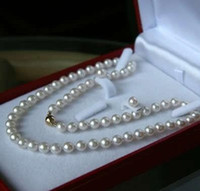 "Wholesale White Akoya Cultured Pearl Necklace - pearl jewelry 7-8MM White Akoya Cultured Pearl Necklace 18"" + Earring Set"