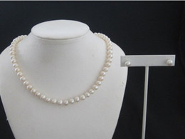 مجوهرات اللؤلؤ لطيفة جدا! 925 SILVER LADIES 7MM PEARL NECKLACE 18INCH and EARRING SET