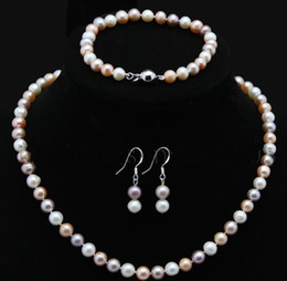 Perles de culture en Ligne-ensemble de bijoux en perles 7-8mm multicolor culture akoya collier de perles 17-18inches bracelets 7-7.5inches boucles d'oreilles