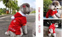 Wholesale Cute New Years Shirts - Fashion Cute Pet Dog Apparel Winter clothes Coat Merry Christmas Clothing Cloth Coat Red Purple Gift