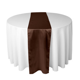 Wholesale Dark Red Table Runners Wedding - 30 X 275 CM Chocolate Dark Brown Satin Table Runner For Wedding Reception or Shower Party Xams Decorations