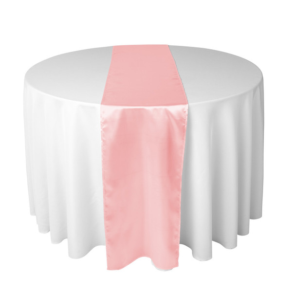 30X275 CM Pink Satin Table Runner For Wedding Reception or Shower