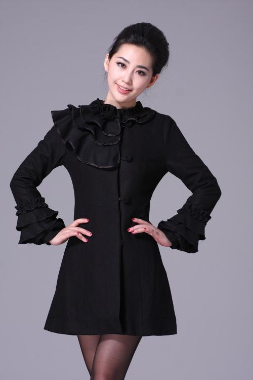 662a96f6fe92 2019 2012 New Fashion Women Coat Petal Sleeve Top Design Pure Color ...