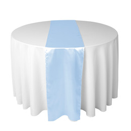 shipping airlines UK - 30 X 275 CM Light Blue Satin Table Runner For Wedding Reception or Shower