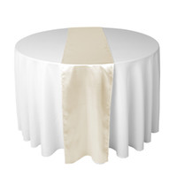 Wholesale Ivory Wedding Table Runners - 30 X 275 CM Satin Table Runner For Wedding Reception or Shower Color Ivory