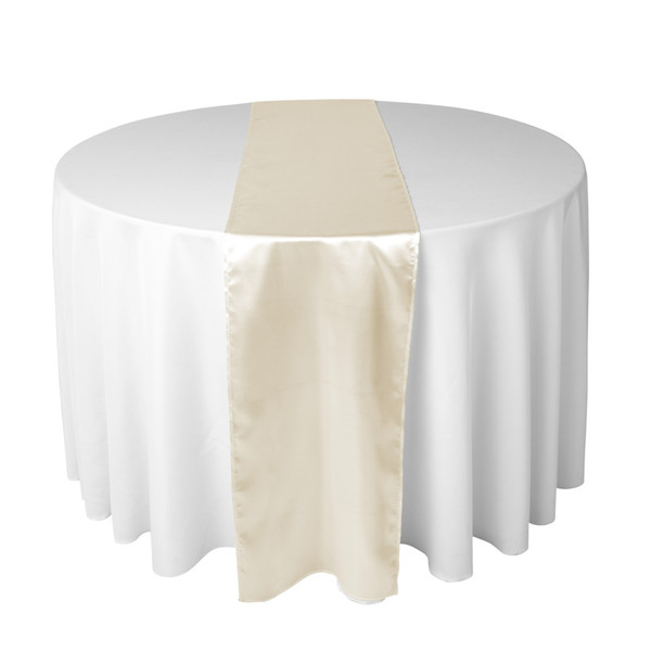 top popular 30 X 275 CM Satin Table Runner For Wedding Reception or Shower Color Ivory 2019