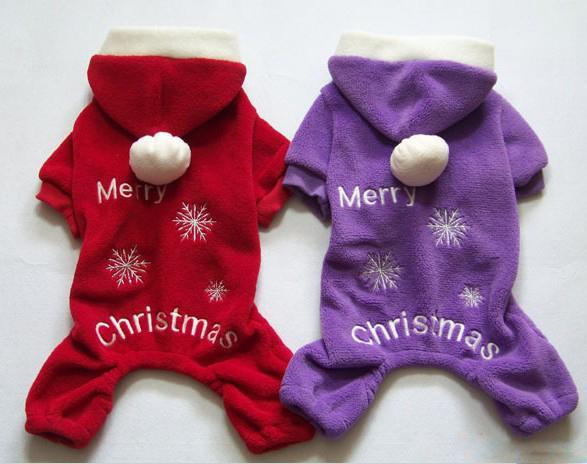 Yeni Sevimli Pet Köpek Giyim Kış giysileri Ceket Merry Christmas Giyim Bez Ceket Kırmızı Mor Hediye