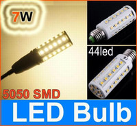 Wholesale E14 44 - 5050 SMD E27 7W LED corn light bulb 44 led Bulb Energy Saving Lamp (E14 B22) warm white  white 30pcs