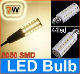 Wholesale E27 44 - 5050 SMD E27 7W LED corn light bulb 44 led Bulb Energy Saving Lamp (E14 B22) warm white  white 30pcs