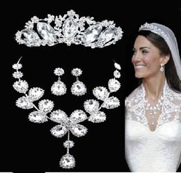 Wholesale bridal earrings headpiece - 3pcs set Bridal Jewelry set Love's Waltz amenity Clear crystal wedding party tiara headpiece necklace earrings cocktail Jz100