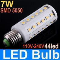 Wholesale E27 44 Smd Led - New E27 SMD 5050 44 LED 7W corn light bulb E14 B22 LED Energy Saving Lamp 110V 230V warm white white