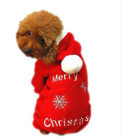 Wholesale Dresses Ornaments - Newest Cute Pet Dog Apparel Winter clothes Coat Merry Christmas Clothing Cloth Coat Red Purple Gift