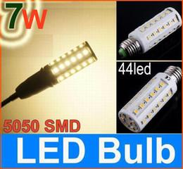 Wholesale E27 44 - E27 5050 SMD 7W LED corn light bulb 110V 230V 44 led Energy Saving Lamp E14 B22 warm white  white