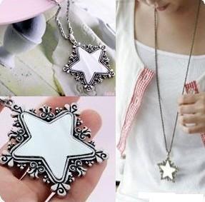 15st * retro mönster trim pentagram spegel halsband tröja kedja