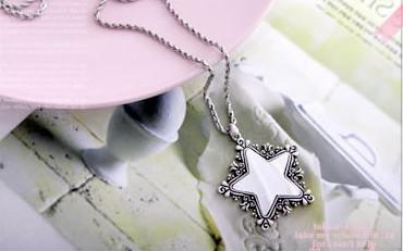 15 stks * retro patroon trim pentagram spiegel ketting trui keten