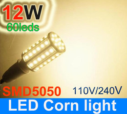 Wholesale 5pcs E27 - 1080LM E27 5050 SMD LED Corn Light Bulb 12W 110 240V 60 led Energy Saving Lamp Warm White White 5pcs
