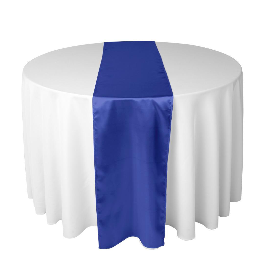 100% Polyester Royal Blue Satin Table Runner For Wedding Reception Or Shower