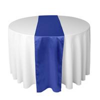 свадебный стол бегуны хлопок полиэстер оптовых-Королевский синий атласная таблица Runner для свадьбы или душ