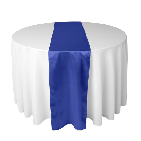 top popular Royal Blue Satin Table Runner For Wedding Reception or Shower 2019