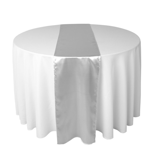 30 X 275 CM Sliver Satin Table Runner For Wedding Reception or Shower Party Xams Decorations