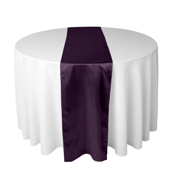 25pcs 30X275CM Eggplant Satin Table Runner For Wedding Reception or Shower Dinner Party Decorations Free Shipping