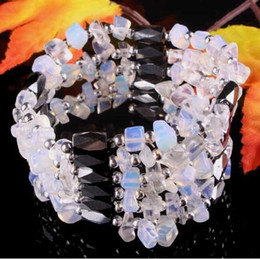 Wholesale Gemstone Chips Strands - Charming ! Magnetic Hematite Opal Chip Beads Gemstone Necklace & Bracelet 34inch New Free Shipping