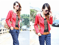 Wholesale Crop Leather Jacket Women - Free Shipping 2016 Hot Items New Fashion Women Faux Leather Zip-Up Cropped PU Leather Jackets