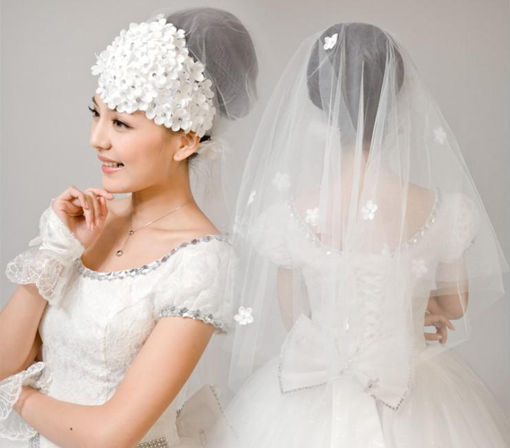Wedding bridal dress gown mantilla veil with flower for What kind of dress do you wear to a wedding