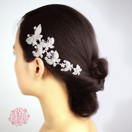 Wholesale Bridal Hair Bows - Free Shipping In stock Crystal Metal Six Butterfly Wedding Bridal Party Hair accessory Bridal Headwear
