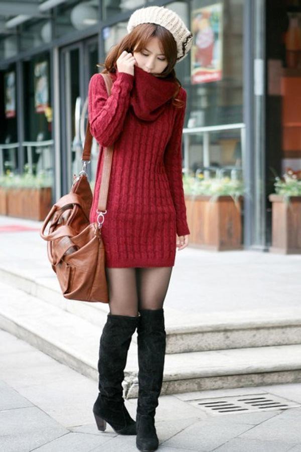 2018 New Women's Sweater Mini Dresses Korean Fashion Round Neck ...