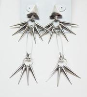 Wholesale Rivets Gun - New Punk Gun Black Rivet Hanging Tassel Triangle Ear Stud Earring 12pairs lot women's jewelry