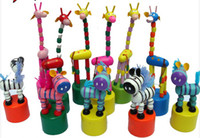 Wholesale Toy Dancing Dolls - Baby Wooden Rock Giraffe Toy Standing Dancing Hand Doll 17cm Tall Animal Toy Kid'