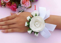 Wholesale Sell Wedding Bouquets - Hot sell White Hand flowers Wrist flower bridesmaid hand flowers bride corsage Sisters hand flowers yzs168