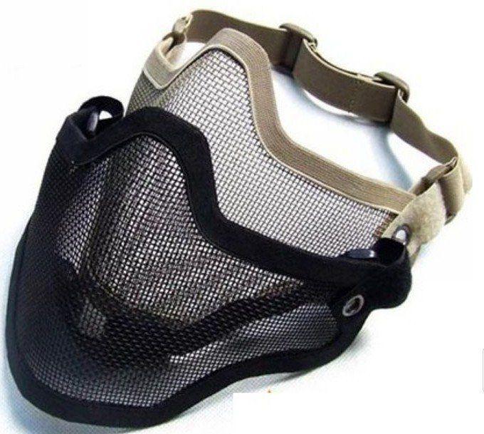 Táctico TMC Metal Steel Wire Half Face Malla Airsoft Máscara Negro / Caqui