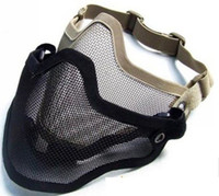 masque de masques airsoft achat en gros de-Masque tactique d'airsoft de demi de visage de fil d'acier en métal de TMC noir / kaki