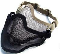 malla de las máscaras del airsoft al por mayor-Táctico TMC Metal Steel Wire Half Face Malla Airsoft Máscara Negro / Caqui
