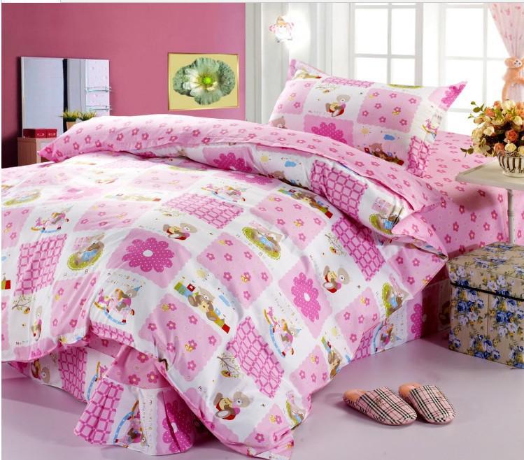Girls Bedding Set Happy Bear Flowers Cotton Comforter Set Pink Doona