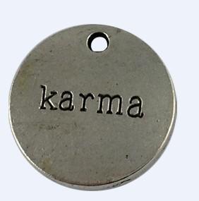 40 Stück tibetische Silberfarbe Metall KARMA Charms Anhänger A12583