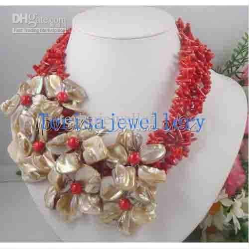 멋진 산호 쥬얼리 세트 3Rows Red Coral 화이트 쉘 플라워 목걸이 귀걸이 새로운 무료 배송