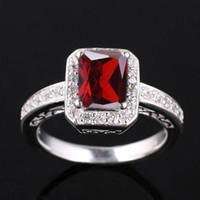 Wholesale Red Rectangle Ring - Lady Rectangle 6X8 Simulated Red Garnet Nal Genuine .925 Sterling Silver Ring R005