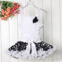 kızlar elbise noktaları siyah toptan satış-Yeni Balo Üstü-Diz Çiçekler Kız Elbise Siyah Nokta Askı Patchwork Tutu Aşınma Çocuklar 1-6Y Çocuk Giysileri TD20503-10