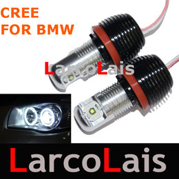 Wholesale Angle Eyes Bmw - 2pcs 10W White Cree LED Angle Eyes Light Lamp Canbus H8 FOR BMW E87 E82 E92 E93 E70 E71 E60 E61 E90