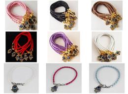 bijoux kabbale hamsa Promotion 10pcs * mode Hamsa EVIL EYE or en cuir chaîne de bijoux bracelets Kabbalah