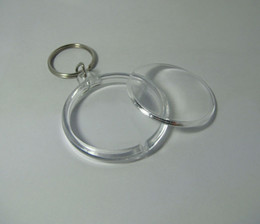 Wholesale Blank Acrylic Round Circle Keychains - Blank Photo Keychain Acrylic Round Circle Insert Picture Personalized Keyrings 1.8'' 4.6cm Drop Shipping