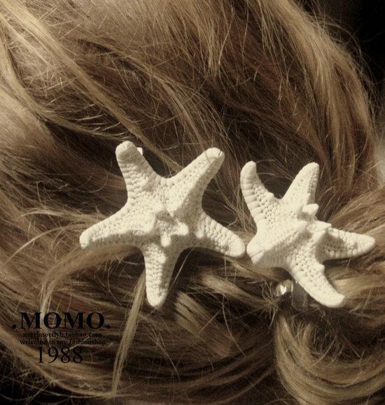 Handgjorda HairAccessories Natural Real Starfish The Seaside Resort Hairpin Side Folder