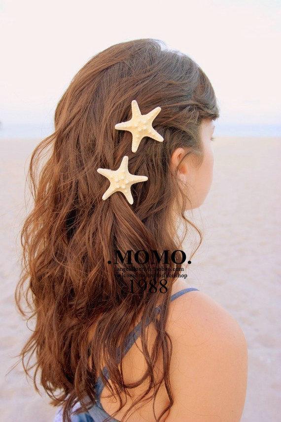 Handmade HairAccessories Natural Real Starfish O Lado Do Mar Do Resort Hairpin Pasta