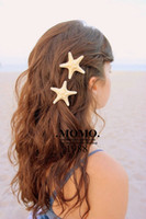 Wholesale Side Folder Clip - Handmade HairAccessories Natural Real Starfish The Seaside Resort Hairpin Side Folder
