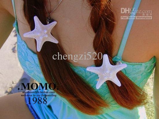 Handmade HairAccessories Natural Real Seestern Die Seaside Resort Hairpin Side Folder